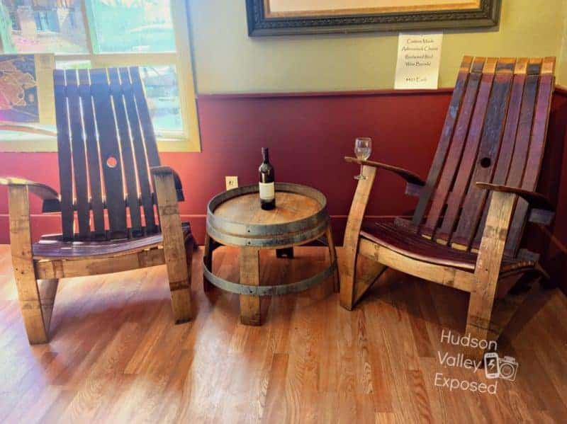 Chairs and a bottle of wine at Benmarl Winery in Marlboro, NY