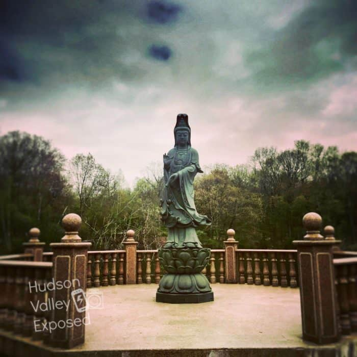 The Seven Jewels Lake on the property of Chuang Yen Monastery boasts not only gazebos and benches to sit on, but also has beautiful statues