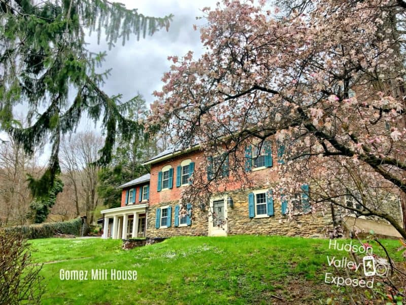 The entrance to the Mill Gomez House in the Spring. This historic home is located in Orange County, Hudson Valley