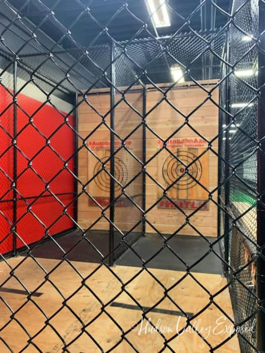 Axe throwing at the Autobaun st the Palisades Center Mall in West Nyack