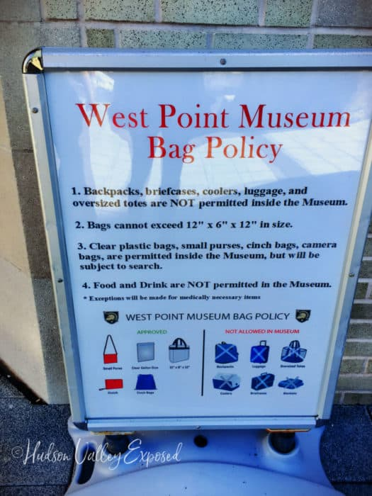 Bag Policy at the West Point Museum