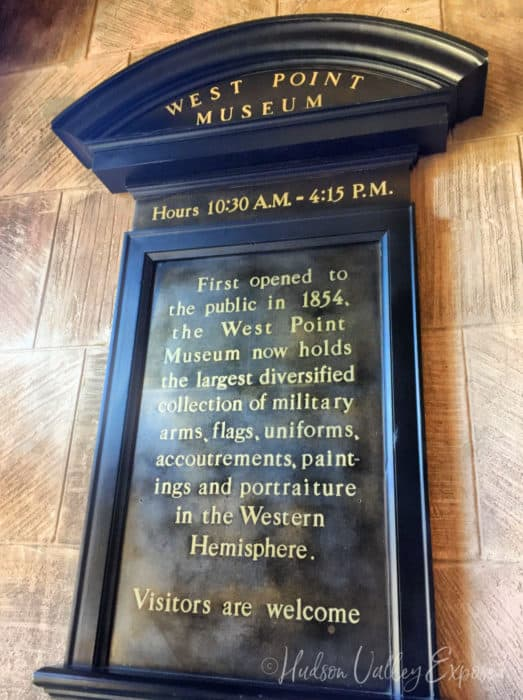 Sign at entrance at the West Point Museum