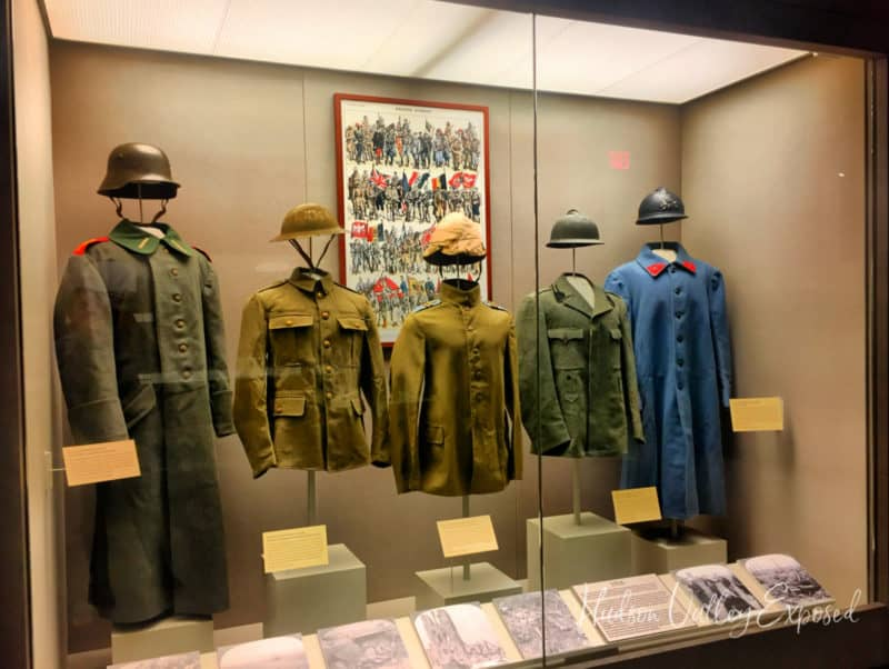 Uniforms on display at the West Point Museum