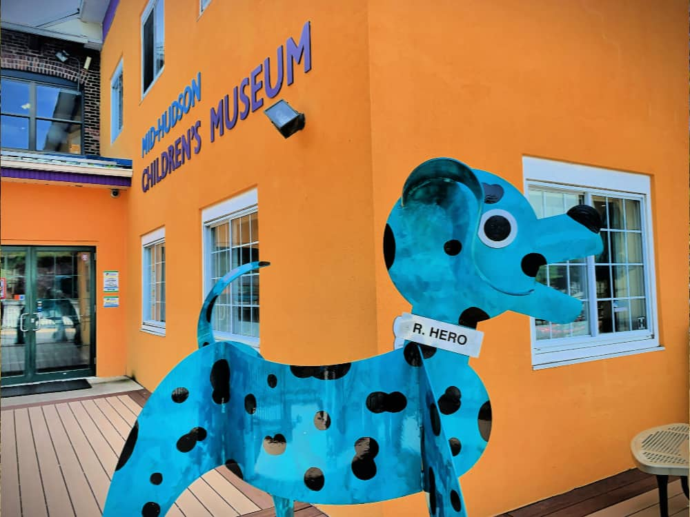 The wonderful R Hero welcomes you to the Mid-Hudson Children's Museum in Poughkeepsie NY