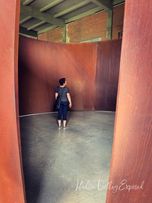 Jackie inside a sculpture at DIA:Beacon in Beacon, Hudson Valley NY