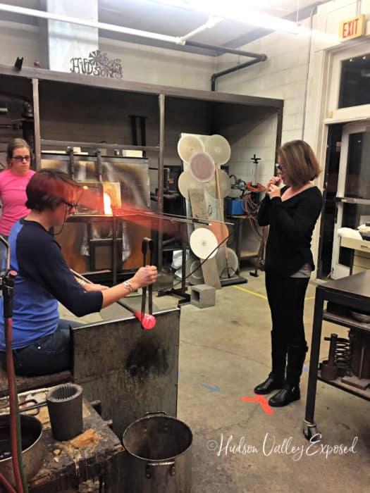 Making blown glass at Hudson Beach Glass