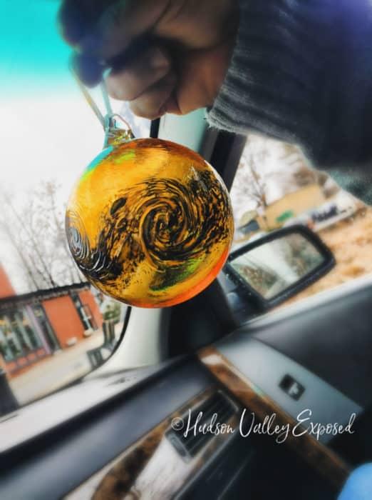 Orange and black glass Beacon ornament