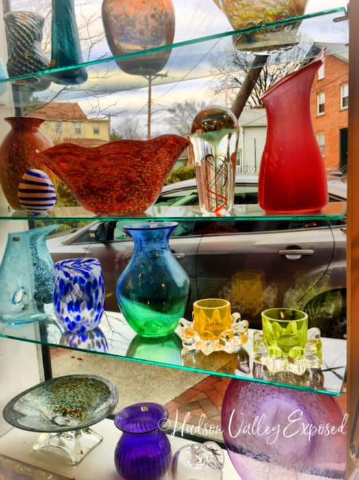 Beautiful glass pieces on display at Hudson Beach Glass in Beacon, NY