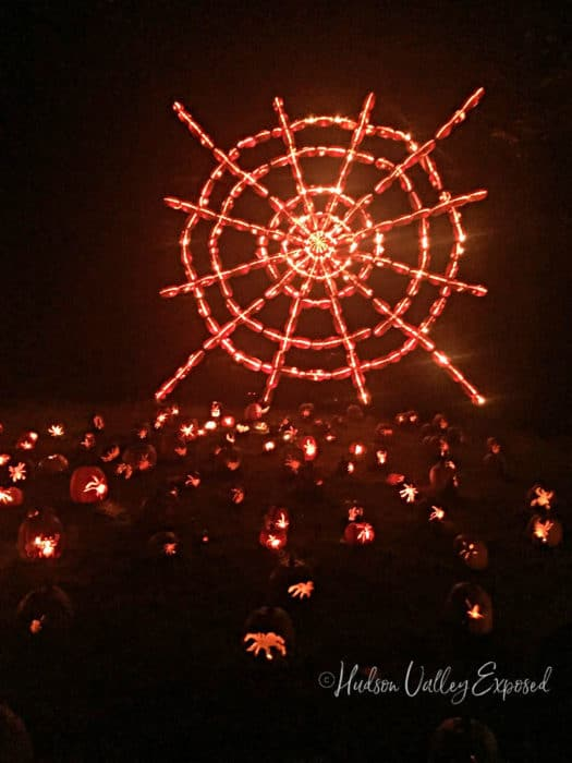 Spider Web Made out of Jack o'lanterns at the great jack o'lanterns blaze in Croton, NY