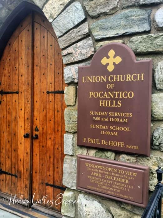 Front door of Union Church at Pocantico Hills, NY