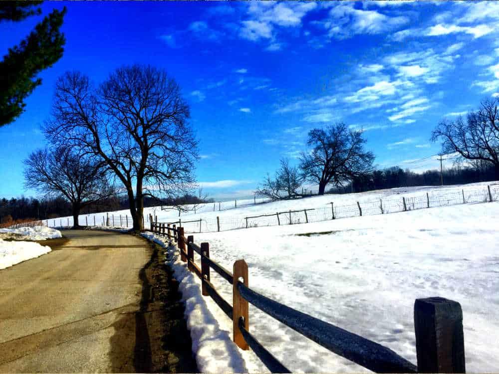 Snowy path at Stonykill farm in Dutchess County