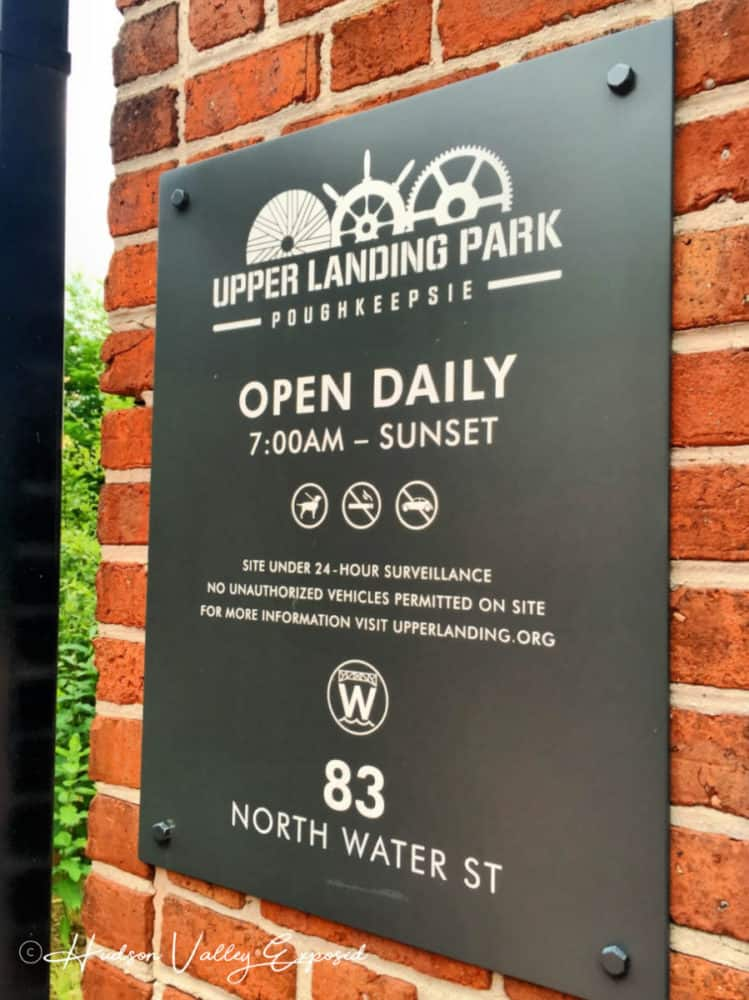 The sign at Upper Landing Park in Poughkeepsie, NY