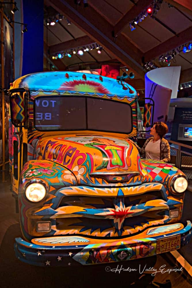 Up close view of the Flower Power Bus at Bethel Woods