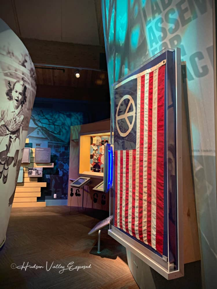 A peace flag displayed at the Museum at Bethel Woods
