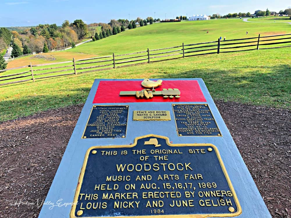 The sign on the site of the 1969 Woodstock Festival