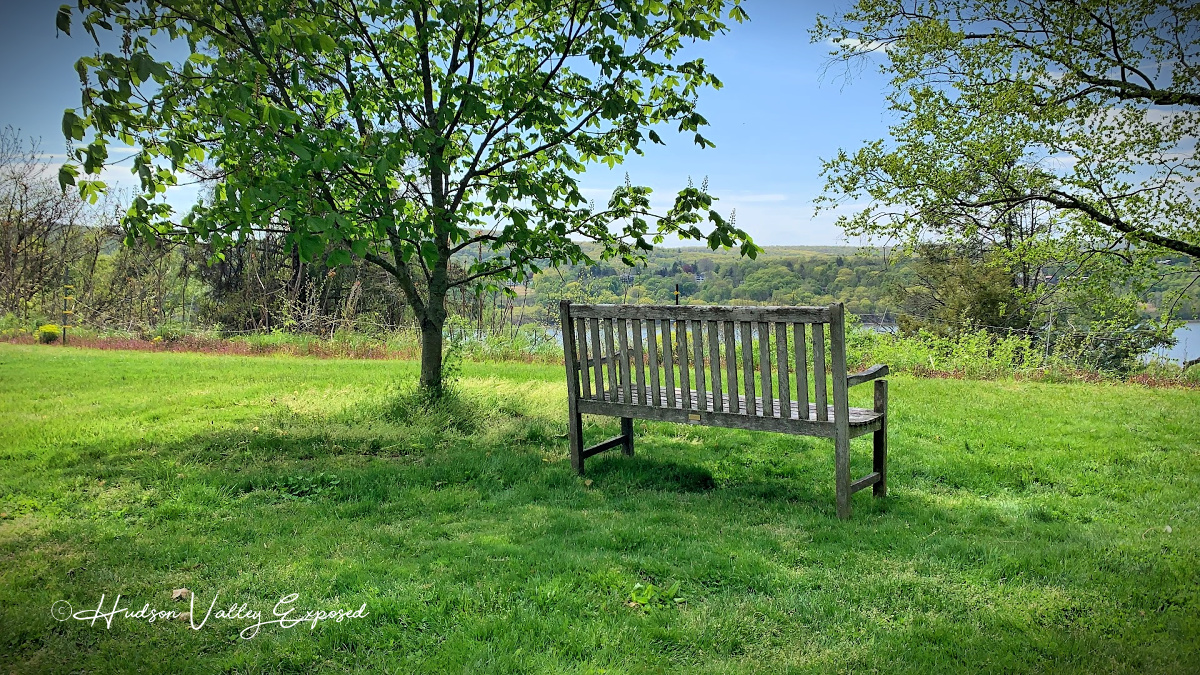 A bench overlooking the Hudson River in Dutchess County NY