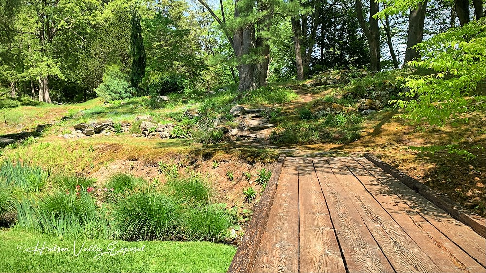 Timber Bridge at Innisfree Garden. This Millbrook Garden is a wonderful place to visit.