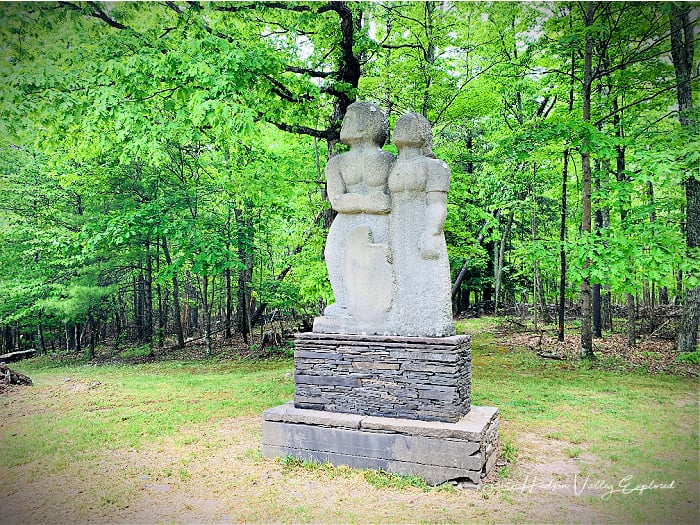 A man and woman sculpture at this Hudson Valley Sculpture Park