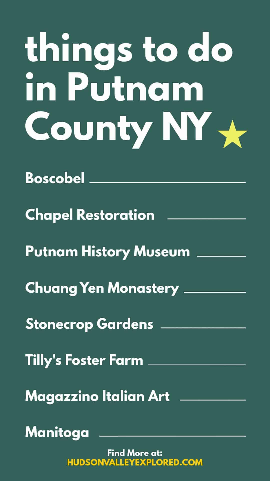 Discover all the fun things to do in Putnam County NY. This small county in Hudson Valley New York is home to Hudson Valley History, Hudson Valley Art and Hudson Valley Culture.
