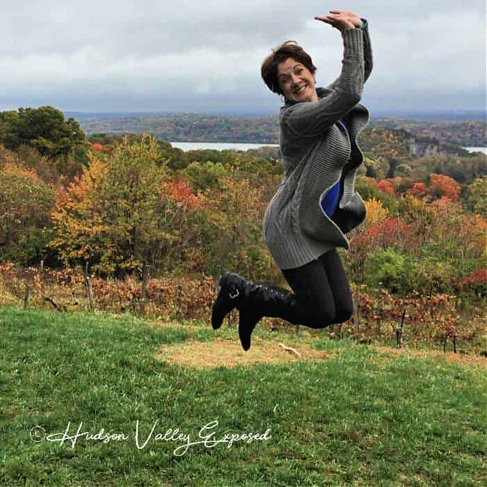 Jackie jumping at Benmarl Winery in Marlboro, NY