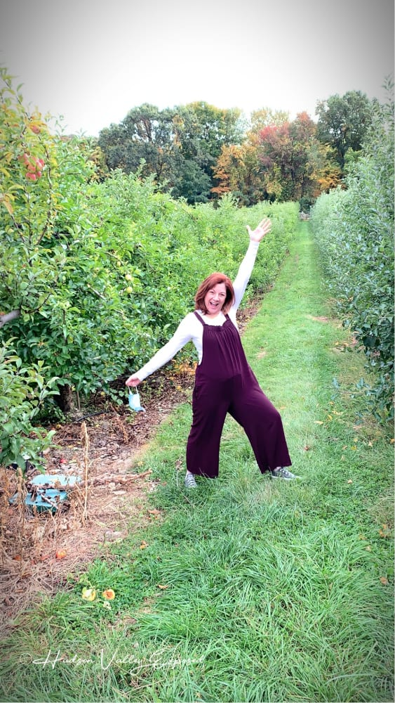 Jackie in the Vineyard of Glorie Farm Winery in the Hudson Valley NY