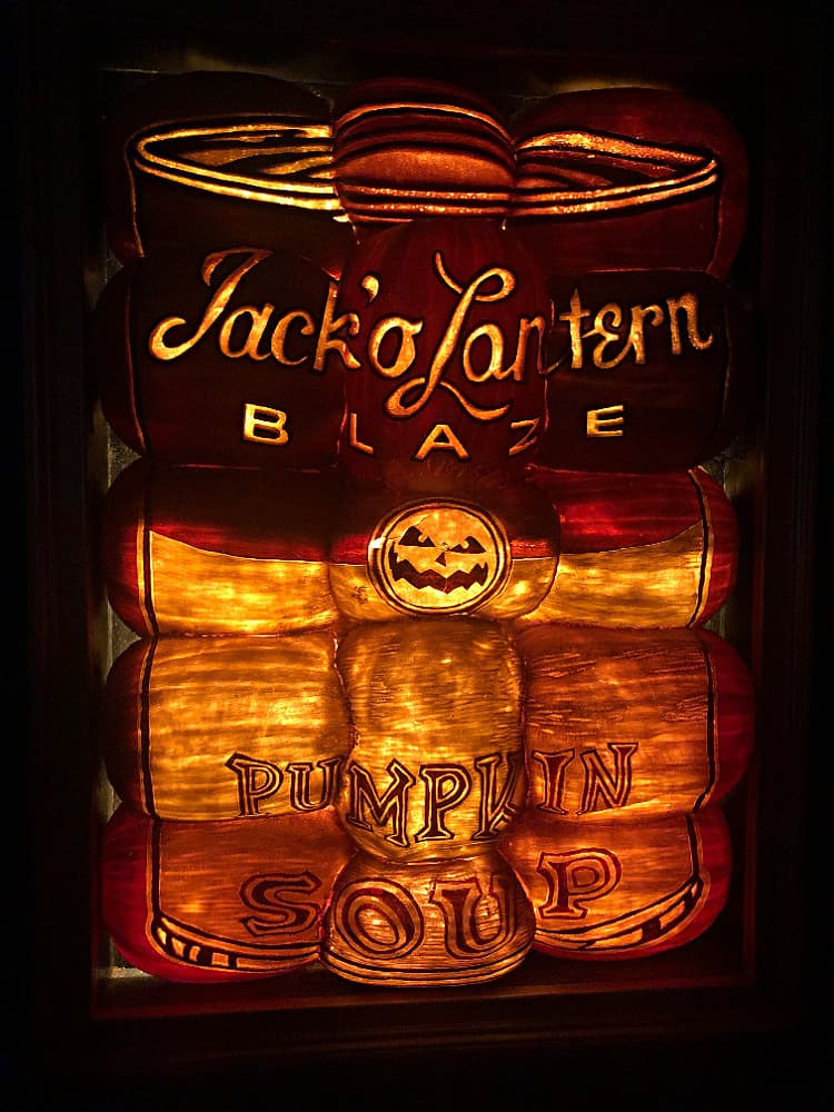 A can of soup made out of lit jack o'lanterns at the Great Pumpkin Blaze.