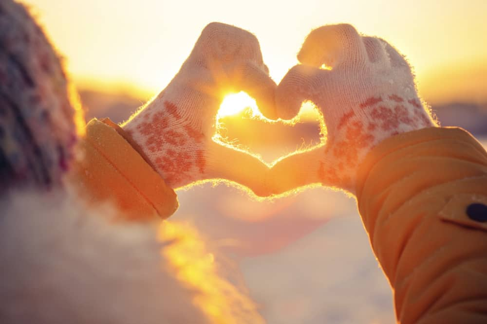 Winter gloves in the shape of a heart. Winter events in the Hudson Valley