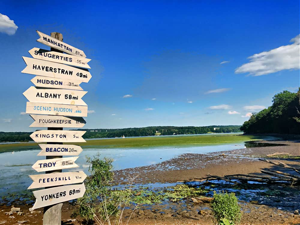 Hudson Valley Towns listed on this sign at Esopus park