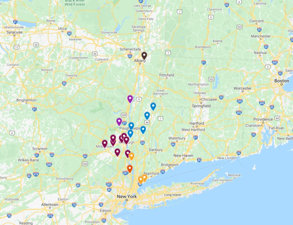 Map of the Hudson Valley ice skating rinks