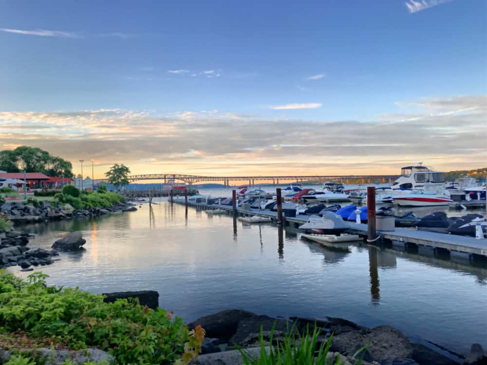 The Newburgh Waterfront with boats in the marina during sunset