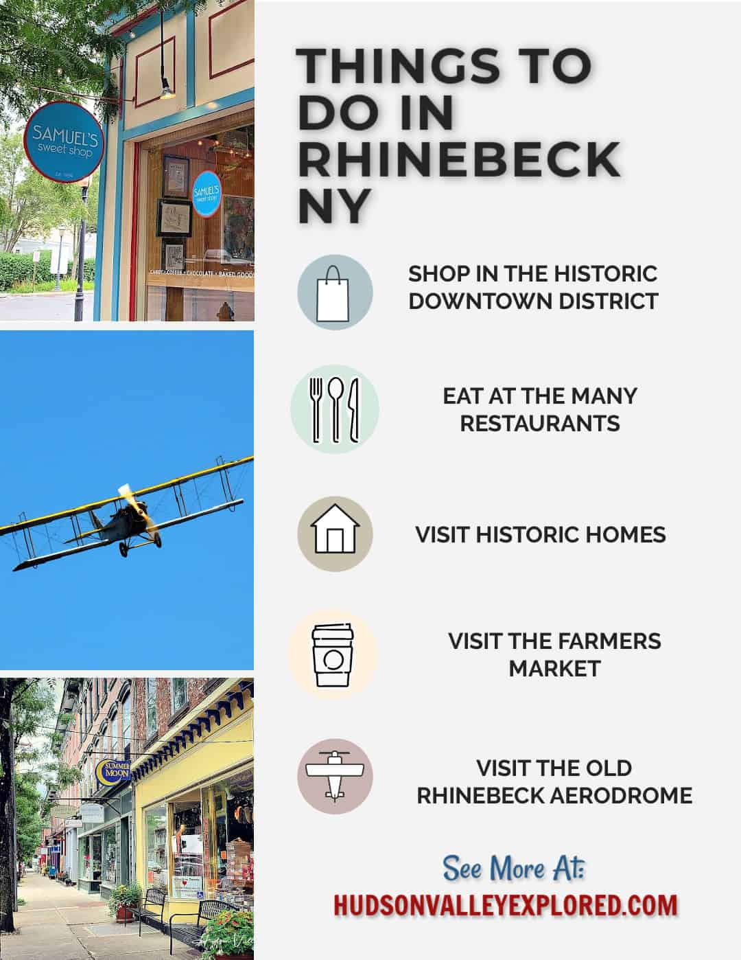 Discover all the great things to do in Rhinebeck NY. This great small town in Dutchess County NY is home to a historic district full of small businesses and boutique shopping. Home to Samuel's Sweet Shop, the Dutchess County Fairgrounds, and Wilderstein, Rhinebeck NY is one of the best places to visit in the Hudson Valley NY. A perfect day trip from New York City, Hudson Valley New York offers the opportunity to explore the outdoors, art and history. Best Things to do in New York #newyork #newyorkstate
